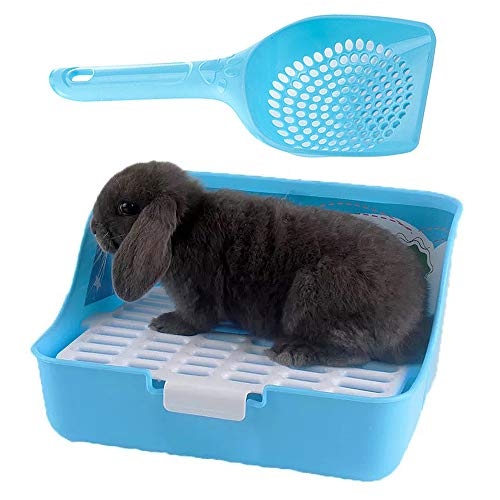 kathson Bunny Litter Box, Rat Litter Tray Ferret Potty Training Corner Litter Pan Guinea Pig Cage Cleaner Litter Scooper for Chinchillas Rabbits
