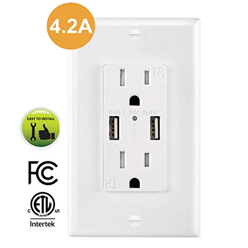 USB Outlet 4.2A, AllEasy USB Wall Outlet with Duplex 15Amp Tamper Resistant Receptacle and 4.2 AMP Dual High Speed USB Outlet, UL Listed, Wall Plate Included 1-Pack