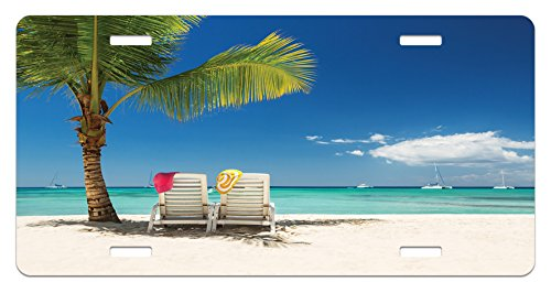 (Ambesonne Seaside License Plate, Relaxing Scene on Remote Beach with Palm Tree Chairs and Boats Panoramic Picture, High Gloss Aluminum Novelty Plate, 5.88 L X 11.88 W Inches, Blue Green)