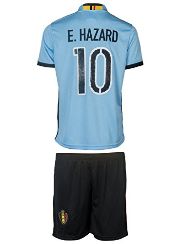 Belgium UEFA Euro 2016 #10 Hazard Home Soccer Kids Jersey & Shorts - Youth Size - XL - (10-11 Ages)