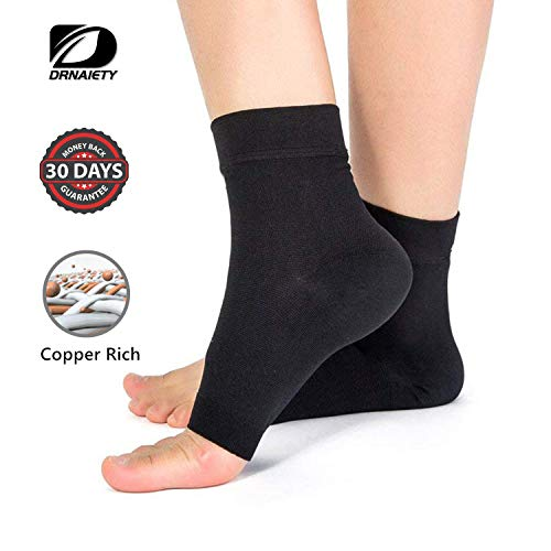 Ankle Brace Compression Support Sleeve Arthritis Copper Compression Sleeves/Plantar Fasciitis Socks (Pair)-Best Plantar Fasciitis Socks, Ankle Brace Compression Sleeve – Relieves Achilles Tendonitis