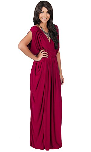 KOH KOH Womens Long V-Neck Summer Grecian Greek Bridesmaid Wedding Party Guest Flowy Formal Evening Slimming Vintage Maternity Gown Gowns Maxi Dress Dresses, Crimson Red M 8-10