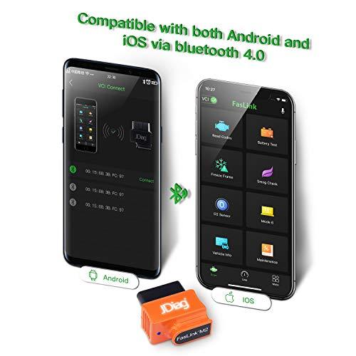 JDiag Bluetooth OBD2 Scanner Code Reader Faslink M2 Professional Vehicle Tool /&