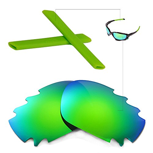 Walleva Polarized Vented Lenses and Rubber Kit(Earsocks+Nosepads) for Oakley Jawbone (Emerald Mirror Coated Polarized Lenses + Green Rubber) ()
