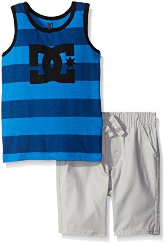 DC Apparel Little Boys 2 Piece Jersey Tank Top With Poplin Plaid Woven Short Set, Blue, 7 (Piece 2 Shorts Tank Top)