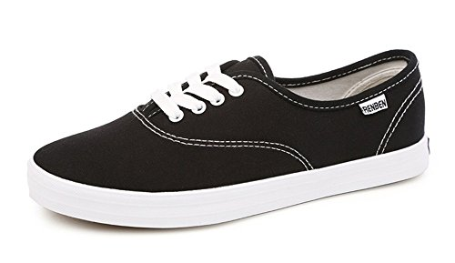 Aisun Womens Comfort Round Toe Driving Lace Up Flat Canvas Sneakers Skateboarding Shoes Black Wf1dhQO