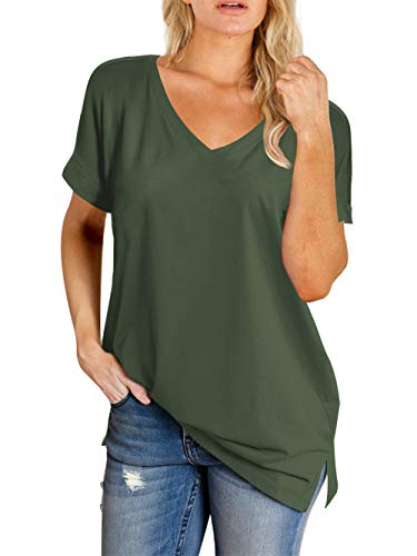 Amoretu V Neck Shirts for Women Cuffed Short Sleeve Plain Summer Top(Green,M) (Best Tops To Go With Leggings)