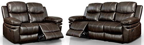 HOMES: Inside + Out IDF-6992-2PC Leon Reclining Living Room Sofa Set, Brown