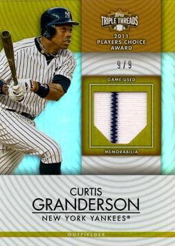 2012 Topps Triple Threads Relics Gold #TTUR-83 Curtis Granderson Game Worn Jersey Baseball Card - Only 9 made!