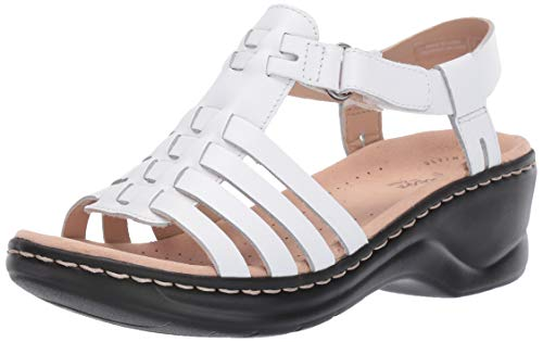 CLARKS Women's Lexi Bridge Sandal White Leather 075 M US
