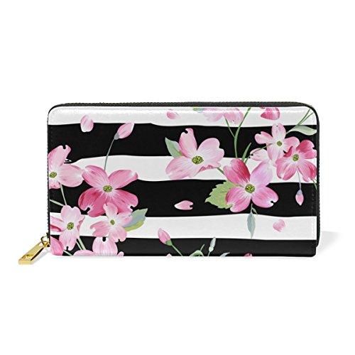 U LIFE Spring Summer Floral Flowers Striped Wallets Purse Cash Card Holder Case Leather (Card Striped Case)