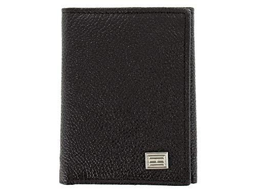 Tommy Hilfiger Men's Brown Pebbled Genuine Leather | ID Holder | Tri-Fold Wallet