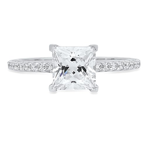 Clara Pucci 1.76 Ct Brilliant Princess Cut CZ Designer Accent Solitaire Ring In Solid 14k White Gold