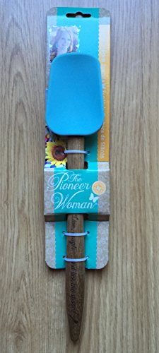 Pioneer Woman Turquoise Blue Silicone Spoon 12 3/4 Wood Handle Spatula