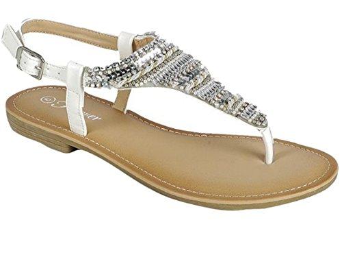 Per Sempre Donna Tanya Bianco Con Perline Sandalo Bianco