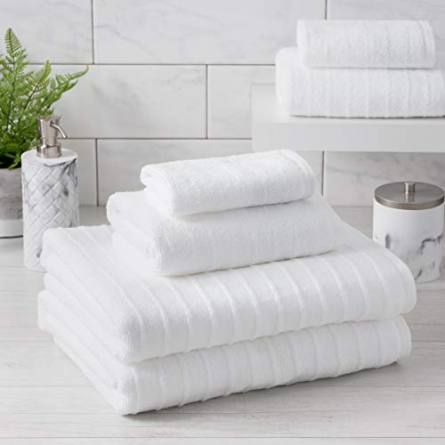 (Welhome James 100% Cotton Textured Bath Towel Set of 6 (White) - Light Weight - Low Twist Fiber - Absorbent - Soft - Quick Dry - Ideal for Daily Use - 450 GSM - 2 Bath - 2 Hand - 2 Wash Towels)