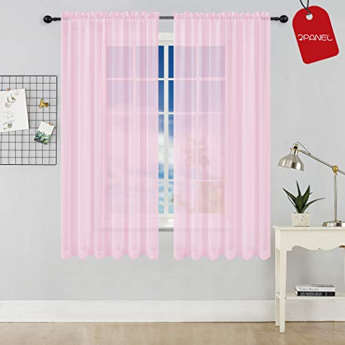 KEQIAOSUOCAI Set of 2 Girls Room Baby Pink Sheer Curtains Panels for Bedroom Living Room Each is 52 Inches Wide by 63 Inches Long