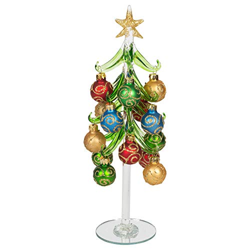 (Red Carpet Studios Miniature Glass Christmas Tree with 16 Gold Glitter Ornaments)