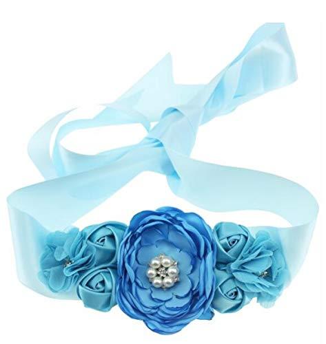 Blue Pregnant Sash Maternity Sash Belt Girls Belt with Flowers for Baby Shower Dress Bridal Wedding Birthday Party Princess Dress Decorations