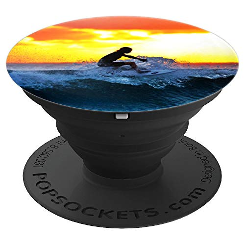 Surfer Girl Beach Gift Cali Surfing Surf Sunset Sunny Girly - PopSockets Grip and Stand for Phones and Tablets