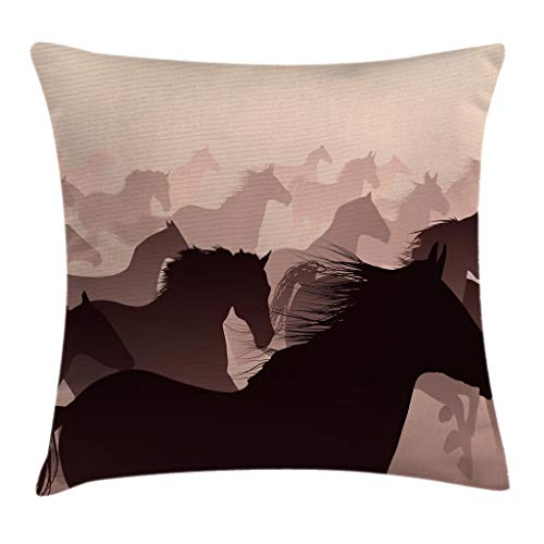 "Ambesonne Africa Throw Pillow Cushion Cover, Reflection of The Running Horses Race Champion Sports Hobby Graphic, Decorative Square Accent Pillow Case, 20"" X 20"", Brown Peach"