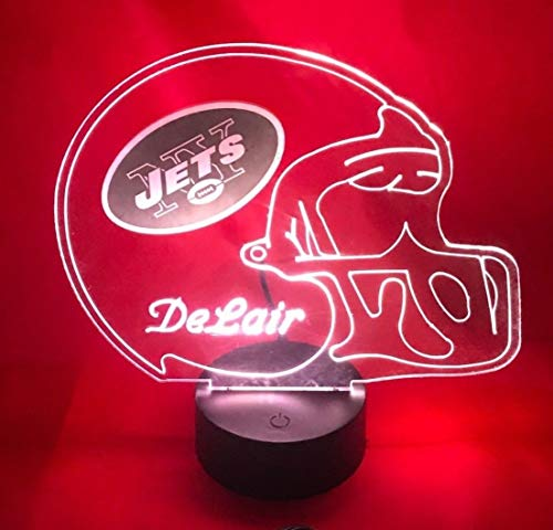 New York Jets NFL Light Up Lamp LED Personalized NY Jets Football Light Up Light Lamp LED Table Lamp, Our Newest Feature - It's Wow, with Remote, 16 Color Options, Dimmer, Free Engraved, Great Gift