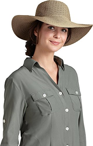 Coolibar UPF 50+ Women's Packable Wide Brim Sun Hat - Sun Protective (One Size - Tan)