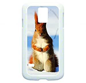 Bunny Rabbit in the Snow - rubber DOUBLE LAYER PROTECTION white case - compatible with Samsung Galaxy S5 I9600