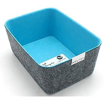 Welaxy Felt Storage bin Desktop Organizer Bins Drawer Organizer bin Drawers Divider Box (Sky Blue, 1)