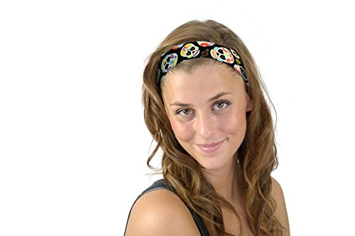 Mini Sugar Skulls and Hearts Day of the Dead Soft Skinny Headband Cloth Headwrap