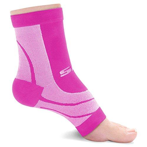SLS3 Plantar Fasciitis Compression Socks | Foot Sleeves | 1 Pair (Pink, S)