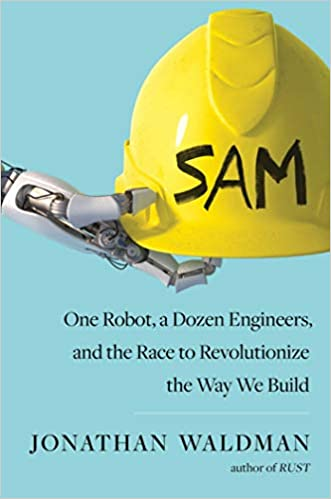 Book cover showing robot arm, hard hat