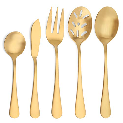 Matte Gold Serving Set,SHARECOOK 5-Piece 18/0 Stainless Steel Large Hostess Set with Round Edge, Satin Finished, Dishwasher Safe -Spoons, Forks,Butter Knife& Slotted Spoon