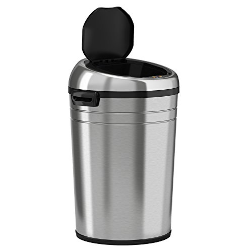 iTouchless Commercial Size Automatic Touchless Sensor Trash Can - Stainless Steel – 18 Gallon / 68 Liter – Round Shape by iTouchless