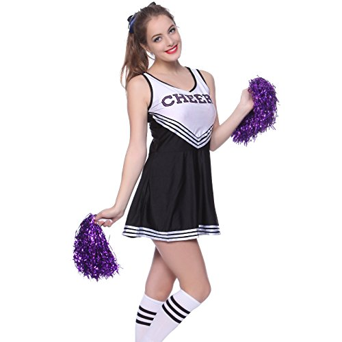 Ladies Cheerleader School Girl Fancy Dress Uniform Party Costume Outfit with (Sexy Varsity Cheerleader Costumes)