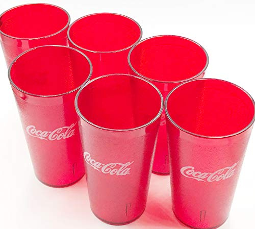 New (6) Coke Restaurant Red Plastic Tumblers Cups 16oz