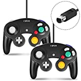 Gamecube Controller, CIPON Wired Controllers Classic Gamepad Joystick for Nintendo and Wii Console Game Remote 2 Pack Black