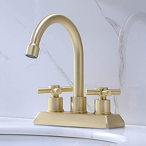 VAPSINT Modern Commercial 2 Handle 4 Inch Centerset Lavatory Brushed Gold Bathroom Faucet,Laundry Basin Vanity Gold Bathroom Sink Faucet with Supply Lines