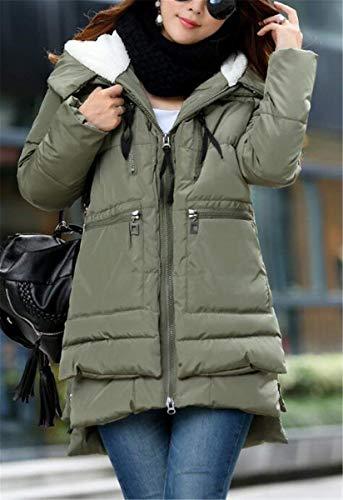 Trapuntata Cappotti Anteriori Lunga Irregular Monocromo Donna Caldo Tasche Cerniera Giacca Invernali Outerwear Moda Manica Abbigliamento Di Giaccone Armgrün Con fwSqHqI5n