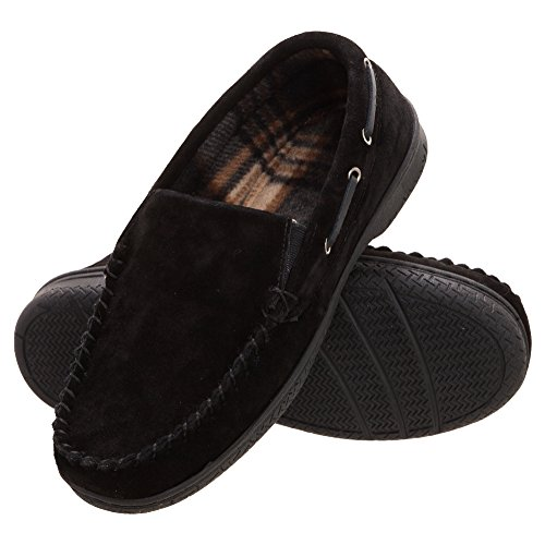 (Heat Edge Mens Memory Foam Suede Slip on Indoor Outdoor Venetian Moccasin Slipper Shoe (11, Black))