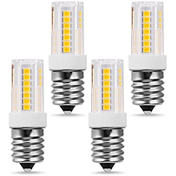 JandCase Dimmable E17 LED Bulb, Microwave Oven Light, 4W(30W Halogen Bulb Equivalent), Soft White 3000k, 350LM, E17 Intermediate Base, 360 Degree Angle for Chandelier, Range Hood, Appliance, 4 Pack