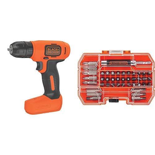 BLACK+DECKER 8V MAX Cordless Drill/Driver (BDCD8C) with BLACK+DECKER BDA42SD 42-Piece Standard Screwdriver Bit Set