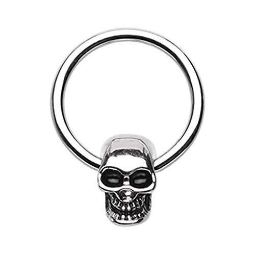 Covet Jewelry Skull Head Captive Bead Ring (Size: 16 GA (1.2mm), Length: 3/8