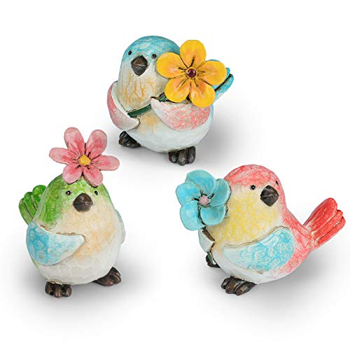 Garden Vivid Birds Figurines Decorations with Flower, Set of 3 Garden Statues, Resin Outdoor Spring Décor and Home Décor…