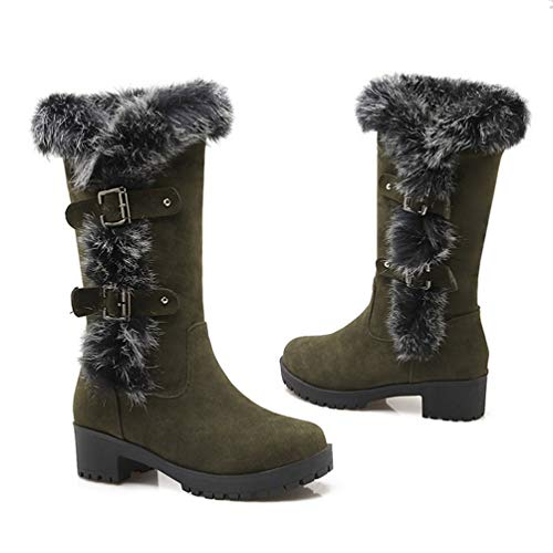 DETAWIN Womens Mid Calf Boots Buckle Mid Heel Platform Round Toe Slip-On Fashion Winter Snow Boots