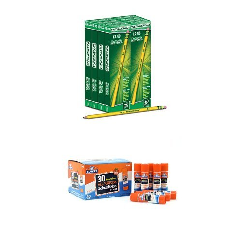 Dixon Ticonderoga Wood-Cased #2 HB Pencils, Box of 96, Yellow (13872) and Elmer's All Purpose School Glue Sticks, Washable, 30 Pack, 0.24-ounce sticks Bundle