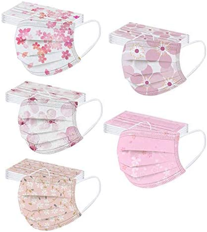 【USA in Stock 】50 PCS Disposable Pretty Floral Pattern Face Masks Face Protection for Women and Men, Skin-friendly Elegant Print 3 Ply Breathable Dust-Proof Spunlace Mask Pleated Design with Nose Wire