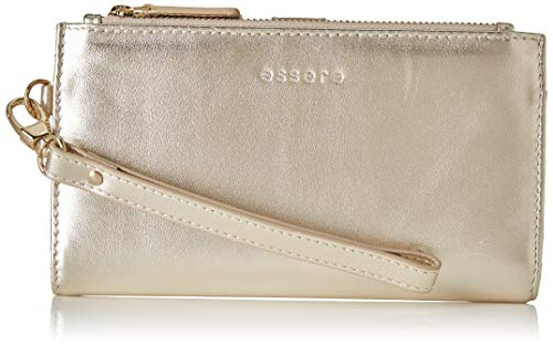 Essere Women's Genuine Leather Wristlet With Detachable Hand Strap Multiple Pockets Gold