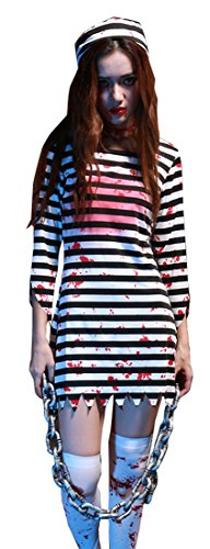 Mumentfienlis Womens Prisoner Costume for Halloween Zombie Costume Size M Redk&White