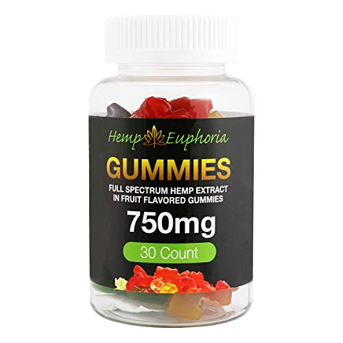99% Pure CO2 Hemp Extract - 30 Count 750mg Hemp Oil Fruit Flavored Gummies - Depression, Anxiety, Pain, Stress, Insomnia, and Nausea Relief by Hemp Euphoria